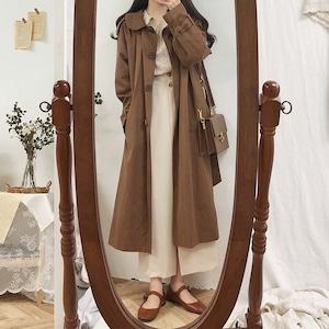 2色/丸襟ロングコート ・18012