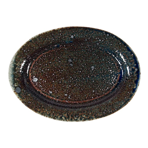 つくも窯 十場天伸 楕円リム皿 ソーダ釉
