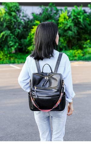 5817リュック レディース ファッション感 たっぷりバック 通学バッグ 旅行リュックサック 肩掛けバッグ カジュアルショルダーバッグ PU レザーリュック