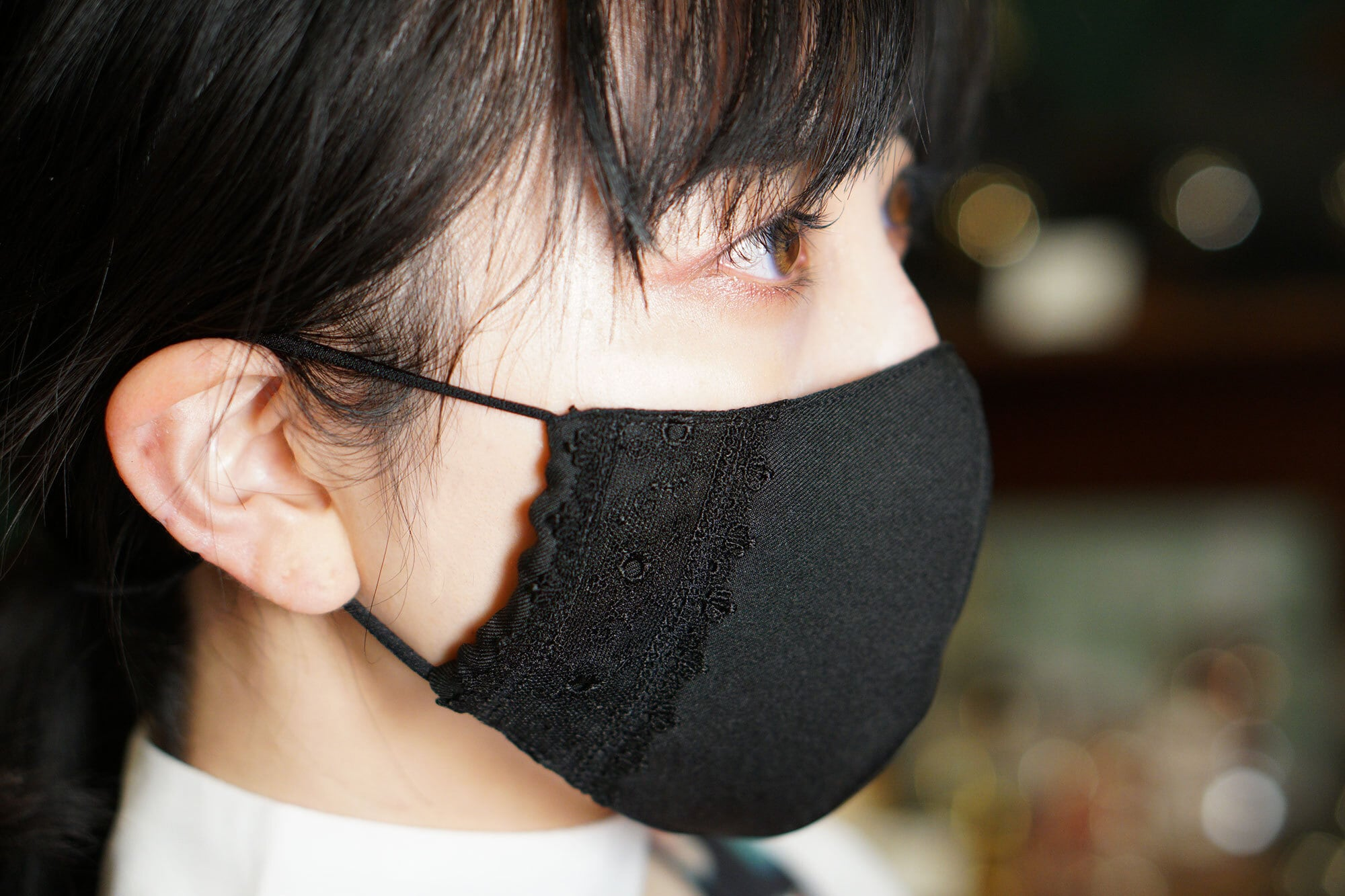 【セール】エレガントなレース付き布マスク/ブラック