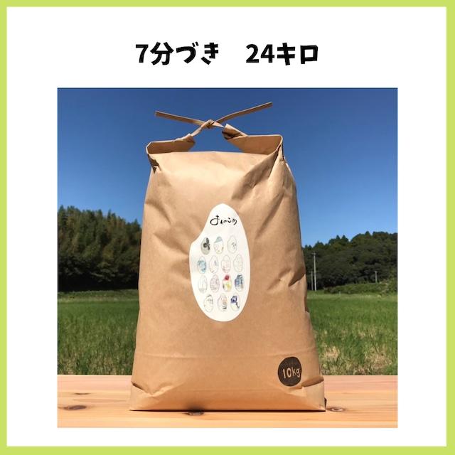 農薬も化学肥料も使わないで育てたお米【7分づき 24kg】