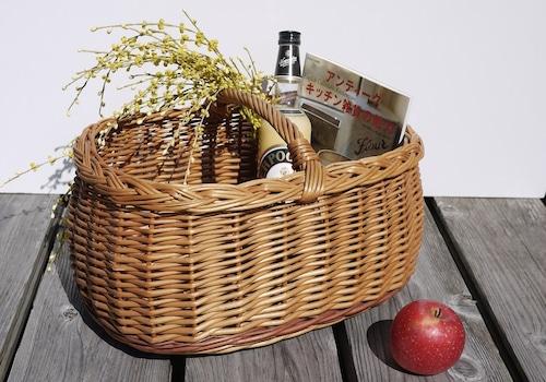 柳ワンハンドルバスケット ドイツヴィンテージ お買い物かご パニエ マルクト籠