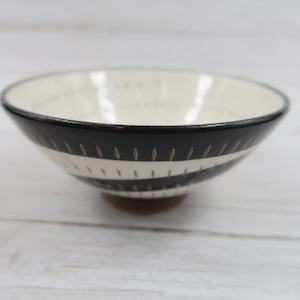 小石原焼 飯椀 トビカンナ 白黒渦お茶碗 鶴見窯