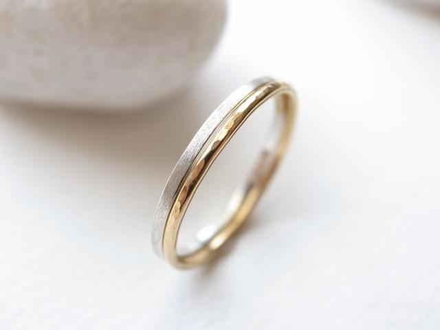 【set ring】silver950/thin & K18YG/tsuchime