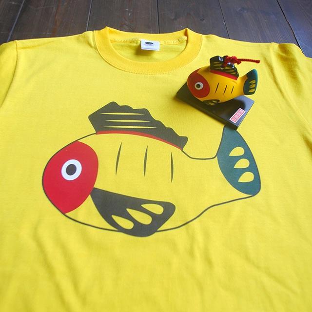 【送料無料】黄ぶなTシャツと土鈴のセット【疫病退散シリーズ】