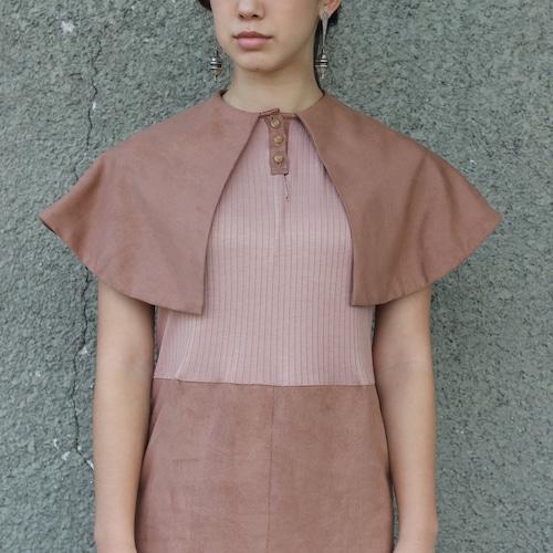 Big collar dress / dark pink