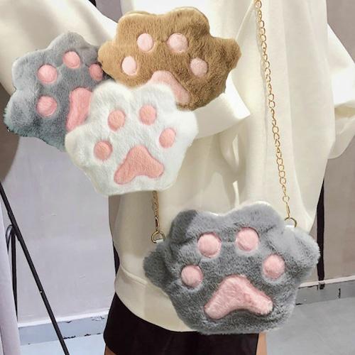 肉球ポシェット 韓国ファッション ねこの手 ミニファー ショルダーバッグ オルチャン DCT-584490221617