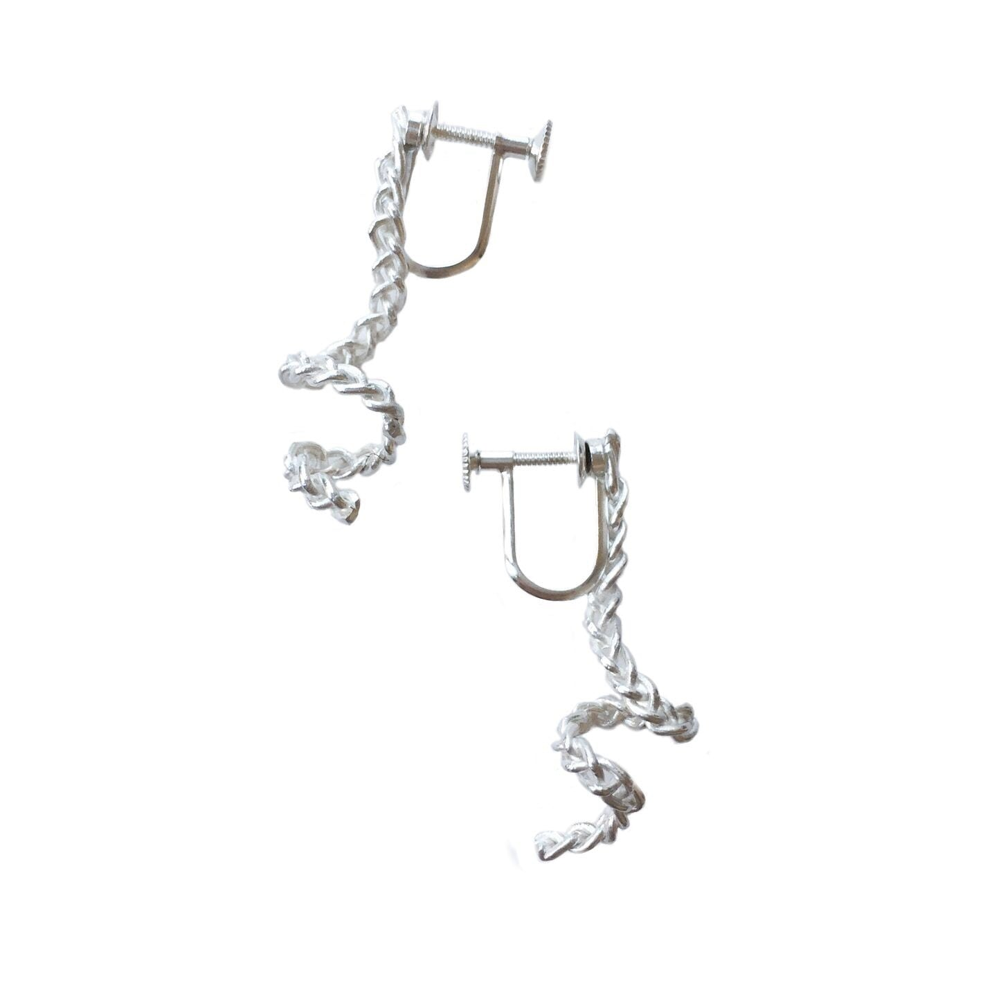 Knitted spiral earrings