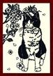 切り絵ポストカードno019 お座りしてお花見猫(E-4-02419)