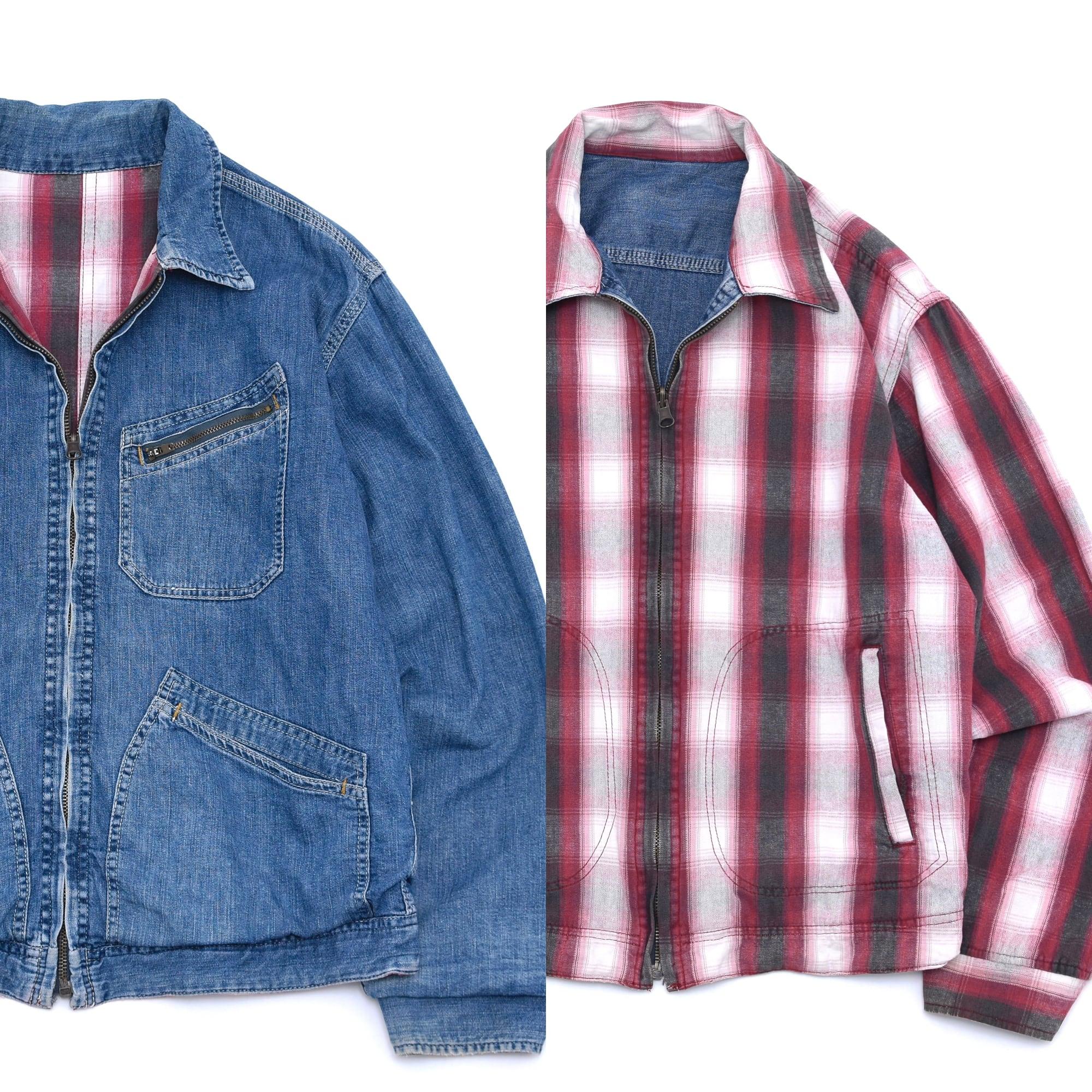 Denim & ombre check reversible vtg jacket