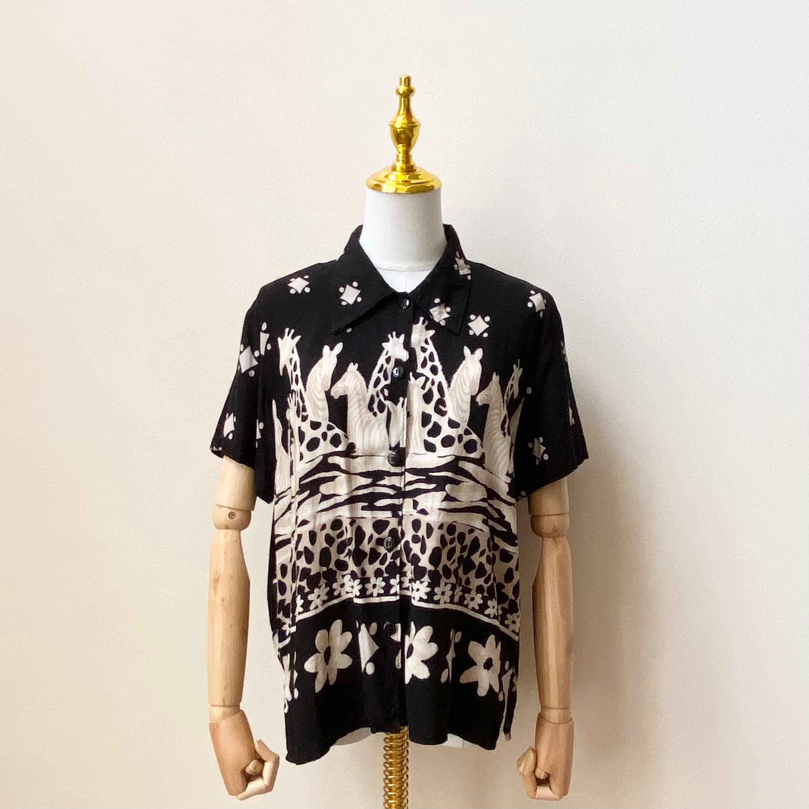 レディース 80年代 USA製 ゼブラ柄 ジラフ柄 半袖シャツ アメリカ古着 レーヨン ブラック 日本L