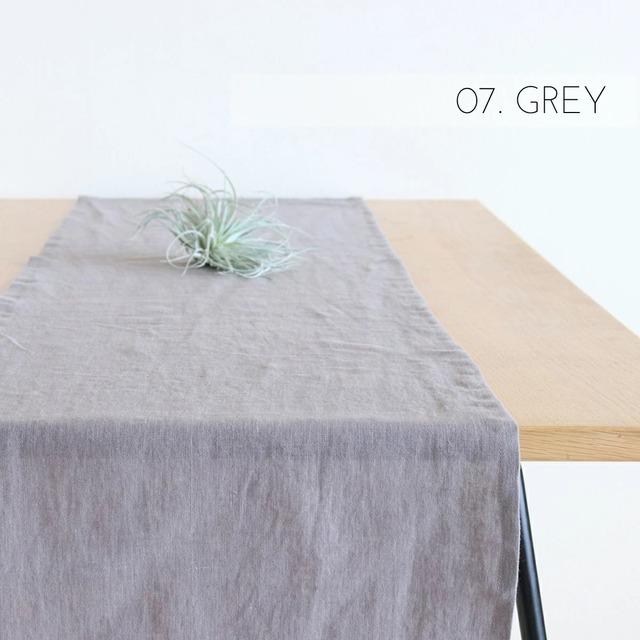ナチュラルリネン テーブルランナー グレー