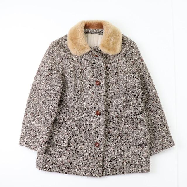 """60年代 ヴィンテージ 古着 アメリカ製 襟フェイクファー ネップ柄 ウール コート ジャケット 60's Vintage  USA  """"Storm play""""  Faux fur Wool Coat Jacket"""