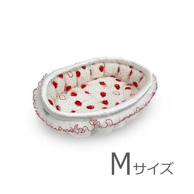 ふーじこちゃんママ手作り ぽんぽんベッド(サテンホワイト・チェリー柄)Mサイズ【PB15-129M】