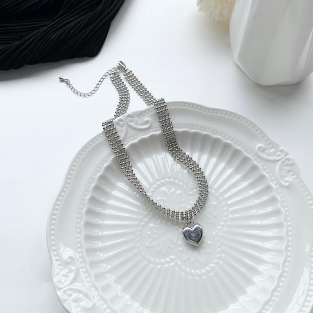 アクセサリー ネックレス レディース 韓国  シンプル お洒落 デイリー 結婚式 高級感 シルバー  シルバーハートモチーフネックレス