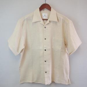 <OSOCU> Bingo-fushiori open collar shirt 希少な綿麻節織で作る涼しさと快適さを追求した夏シャツ 生成