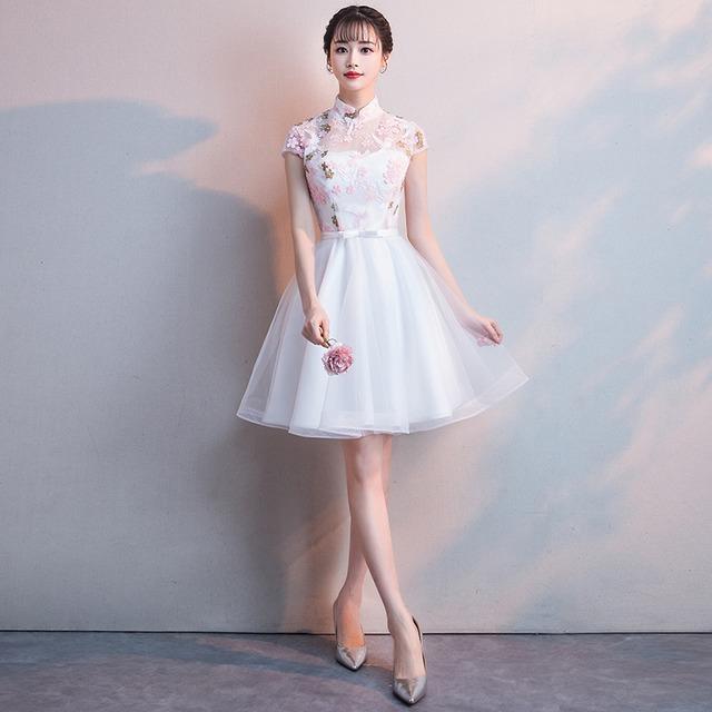 ショートチャイナドレス 刺繍チャイナドレス チャイナ風ワンピース パーティードレス 半袖 大きいサイズ XS S M L LL 3L チャイナ風服 二次会 入園式 卒業式 女子会 パープル ピンク