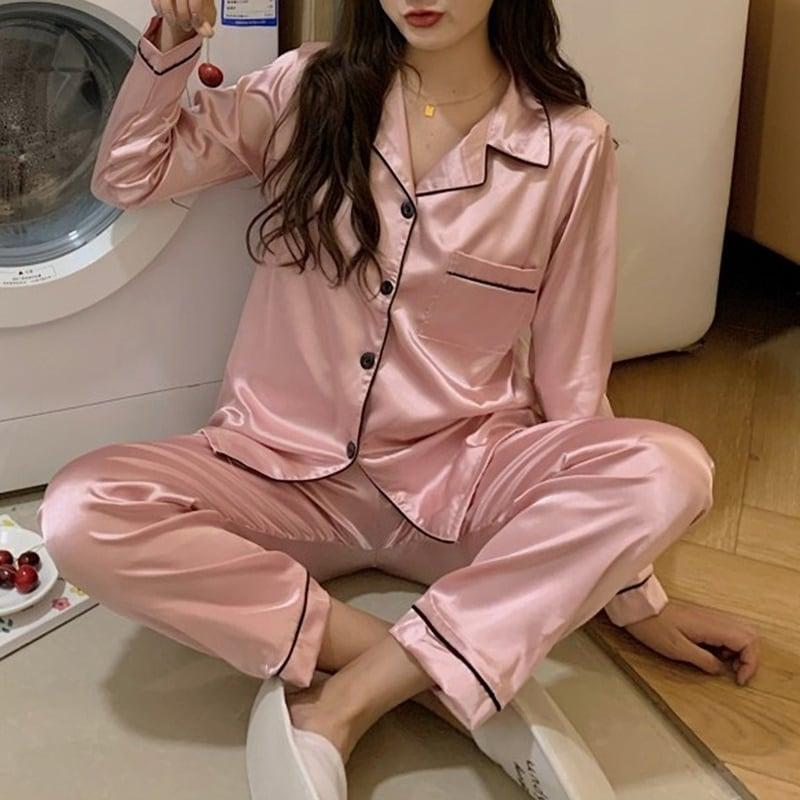 韓国ドラマでよく見るパジャマ♡サテンツーピースパジャマ