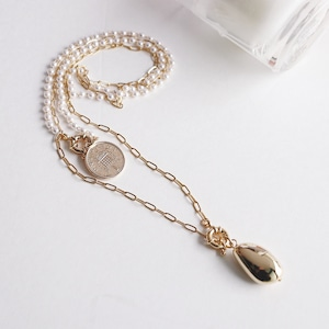 NECKLACE || 【通常商品】 PEARL AND COIN NECKLACE SET || 1 NECKLACES || GOLD || FBA074