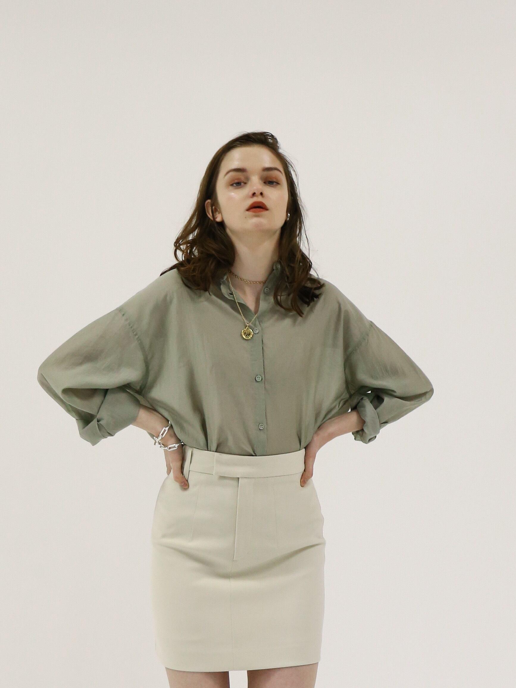 oversize sheer shirt(olive)