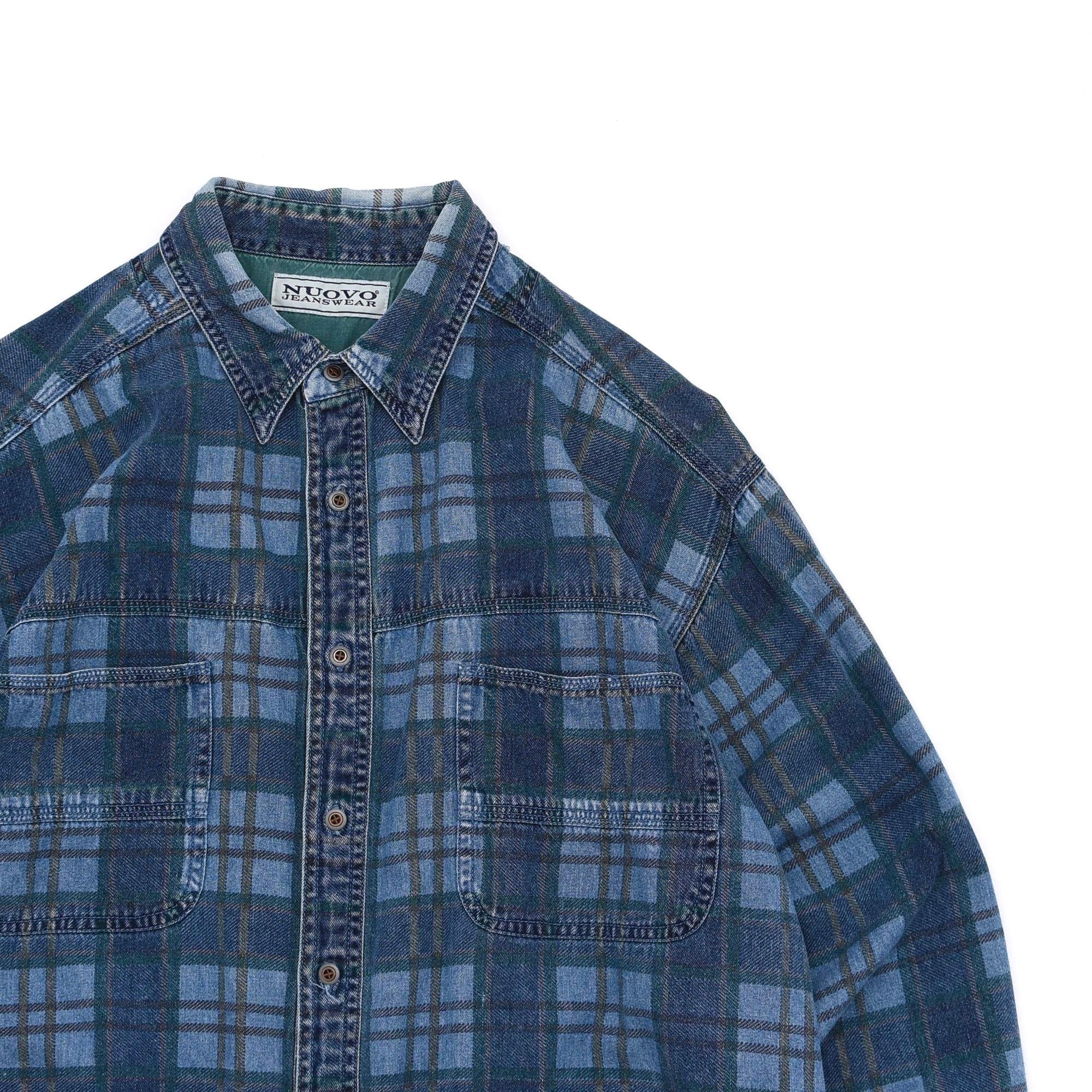 90's NUOVO print check denim work shirt