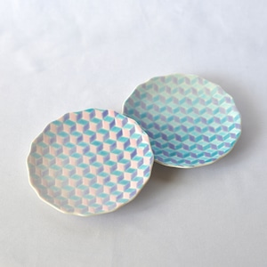 【九谷焼】淡いグラデーションの4寸小皿【2色セット】「紅掛空色」(桜色×淡青)