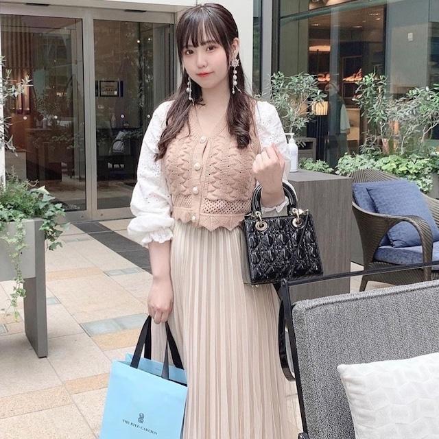 【yurina様コーデ⸜❤︎⸝】スクエアネックブラウス×シースルースカート(ベージュ)