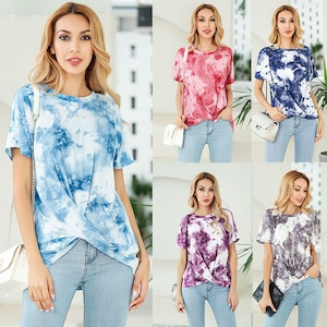 9011タイダイ染め 丸ネックTシャツ レディーストップス ヒップホップダンスウェア 半袖Tシャツ 大きいサイズ