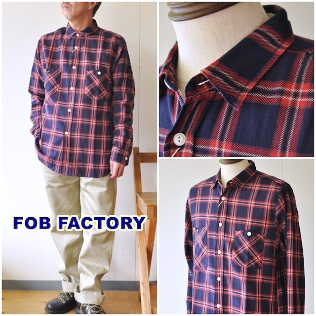 FOB FACTORY FOB エフオービーファクトリー ワーク シャツ  インディゴチェックワークシャツ F3472