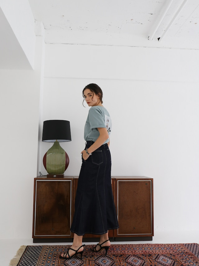 denim mermaid skirt(dark indigo)
