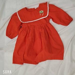 セーラーカラー刺繍ワンピース・韓国子供服・