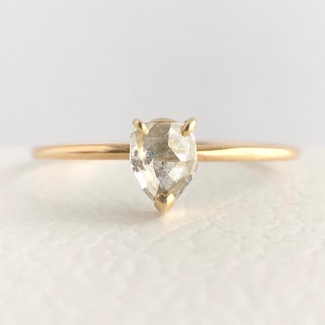 ナチュラルダイヤモンド リング 0.275ct K18イエローゴールド チェカ 鑑別書付