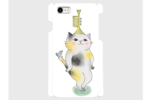 (iPhone用)トランペット猫のスマホケース