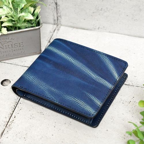 indigo 財布 二つ折り shibori・藍絞り(tie-dye)