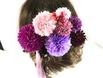 大人かわいい紫色の花かんざしセット