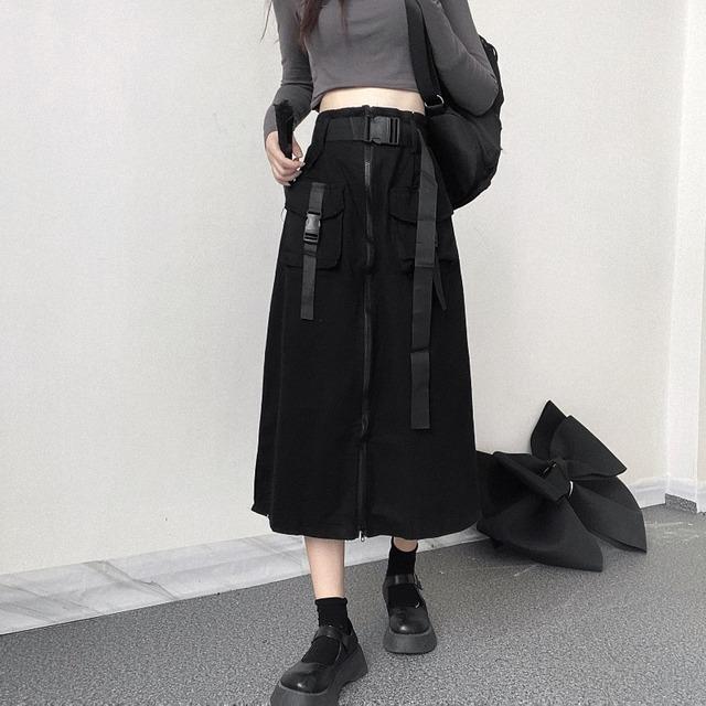 【ボトムス】レトロ膝下丈ハイウエストAラインスカート52631806