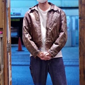 """1940-50s Montgomery Ward """"WIND WARD"""" Steerhide Leather Jacket Size 46"""