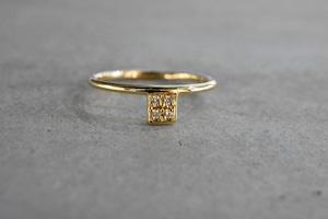 Square 4 Diamond Ring / K18 YG