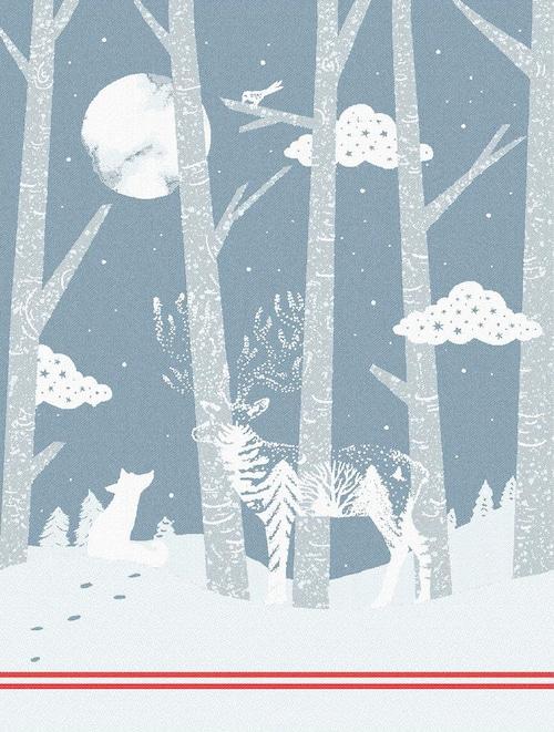 ティータオル・NOELシリーズ新作 クリスマス・小さな木々 Tissage Moutet