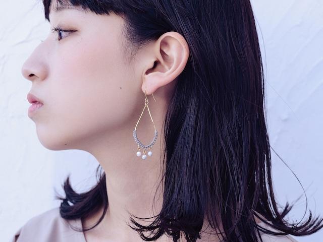 《niruc×KnottWorks》パールドロップピアス/イヤリング・Brass/Pearl Drop Earrings×3colors
