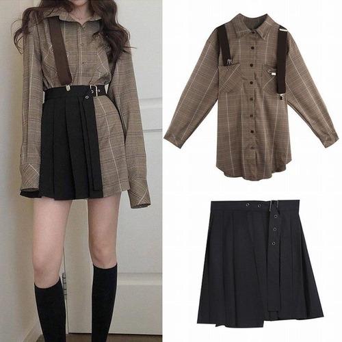 セットアップ チェック ロングシャツ + アシンメトリースカート 韓国ファッション レディース ハイウエスト かわいい ガーリー DTC-611282619328
