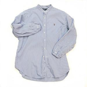 【USED】リメイク ラルフローレン バンドカラー ストライプシャツ XL