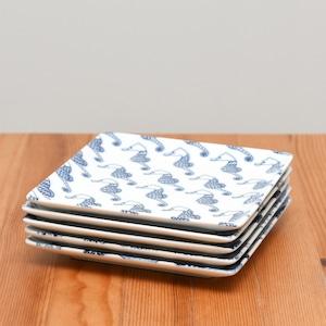 【波佐見焼】【natural69】【cocomarine×Janke】【正角皿】 ココマリンヤンケ お魚 海水魚 食器 北欧風 スクエアプレート パターン柄