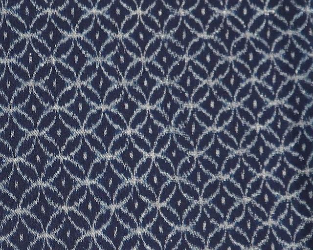 久留米絣・天然藍100% 手織り生地(七宝濃色) 反物