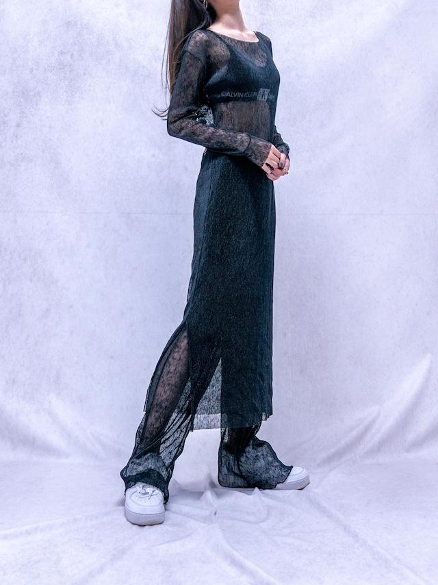 【WOMENS - 1 size】SEETHROUGH ONEPIECE PANT SET / 4colors