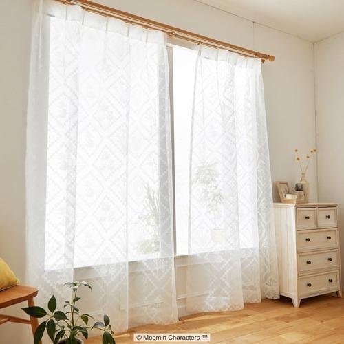 【最短8営業日で出荷】ボイルレースカーテン ムーミン 「HISHIGATA ヒシガタ ホワイト」 (幅×丈):100×176cm(2枚組) ab-a1018