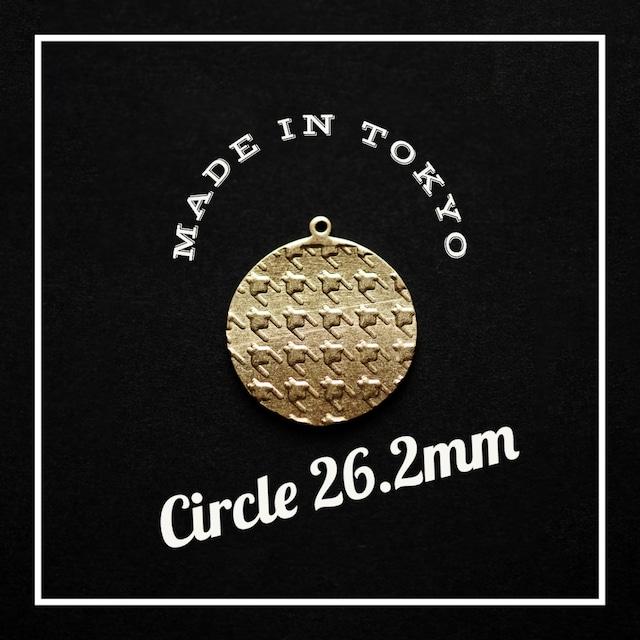 【1個】メタルプレート 丸【26.2mm】丸カン(千鳥模様、日本製、真鍮、無垢)