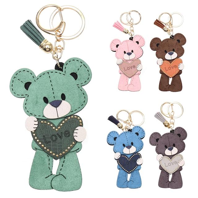 クマ×ハートチャーム チャーム キーホルダー キーリング くま bear アニマル おしゃれ シンプル かわいい バッグチャーム 飾り