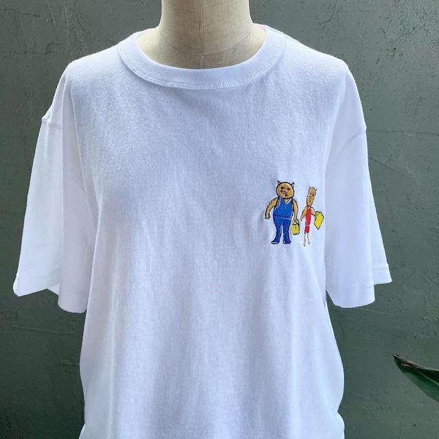 【巨匠動物園】誰と誰・ワンポイント刺繍Tシャツ