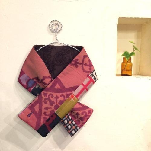 銘仙×コード刺繍の小さな襟巻き171/八月のうさぎ 着物 古布 リメイク ストール プチマフラー ネックウォーマー